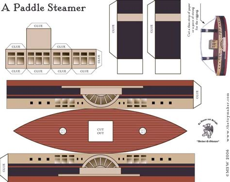 Boat Paper Craft - a paddle steamer