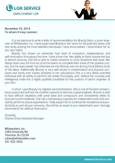 Service Writing Letter Of Recommendation Letter Of Recommendation For Employment Writing Service