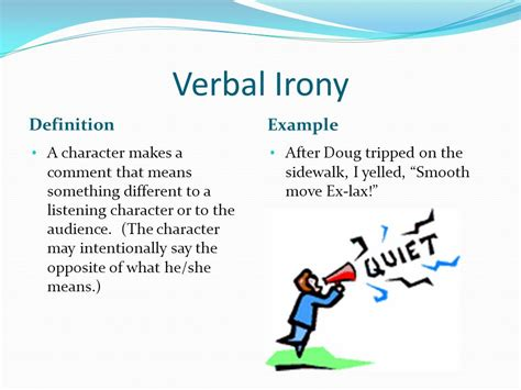 exle of verbal irony guide to literary techniques and movements i ppt