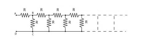 resistor ladder circuit homework and exercises equivalent resistance in ladder circuit physics stack exchange