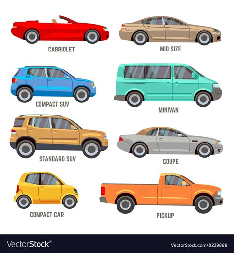 Car Types by Car Types Flat Icons Royalty Free Vector Image