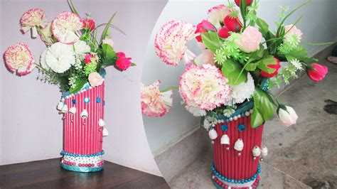 How To Make Waste Paper Craft - newspaper flower vase best out of waste with