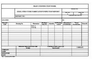 steel structure fabrication inspection report