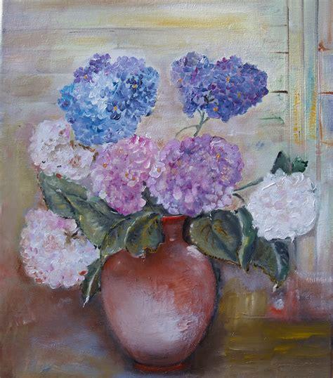 ortensie vaso quadri dipinti ortensie e piante