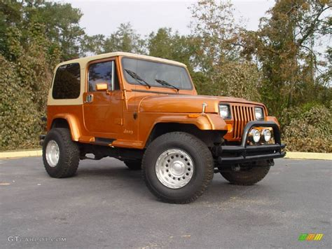 copper jeep 1988 copper orange jeep wrangler laredo 4x4 746836