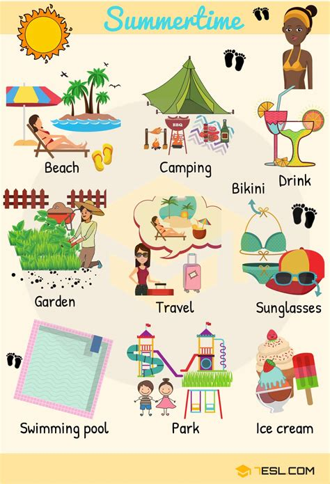 summer words summer vocabulary words  pictures