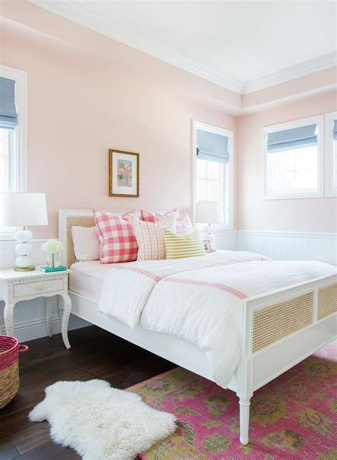 bed check pink girl bedroom with bone inlay nightstands