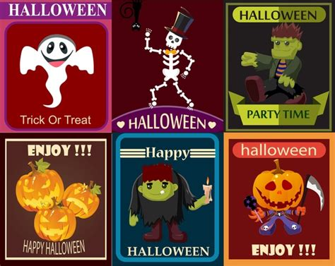 design poster cute halloween poster design elements with cute characters