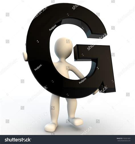 Character Letter G 3d Human Character Holding Black Letter Stock Illustration 102321433