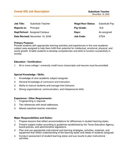 School Resume Description Qualifications Resume Substitute Resumes 2016 Substitute Description