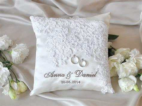lace wedding pillow vinateg ring bearer pillow white