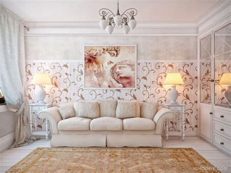 interior decoration cream living room with swirl floral