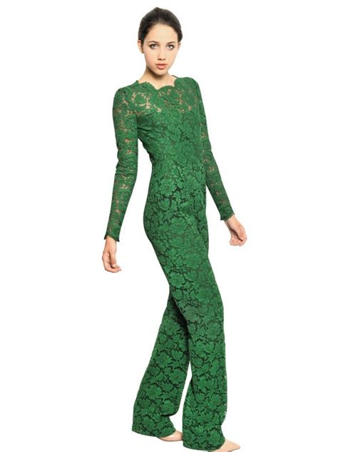 lyst valentino lace romper in green valentino cotton blend lace jumpsuit in green lyst