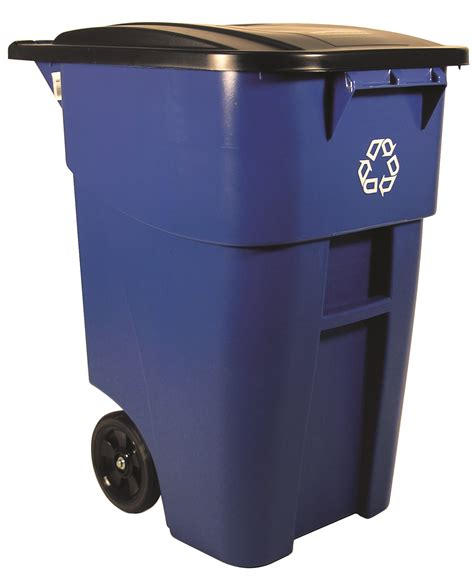 trash storage containers 50 gallon brute recycling rollout container with lid for