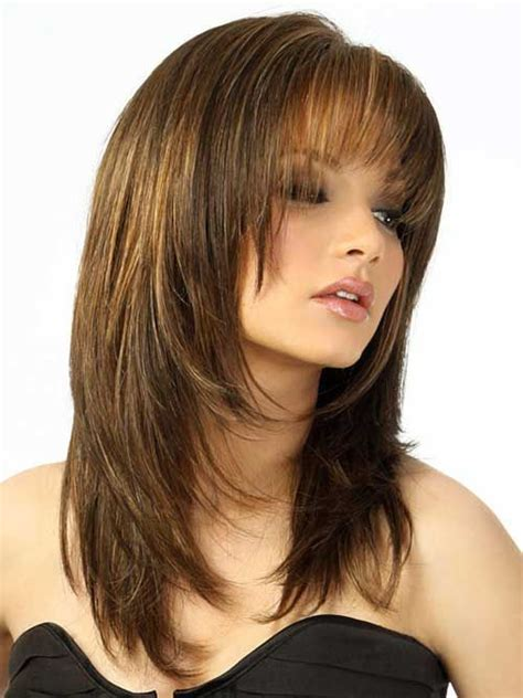 long hairstyles with rounded back layered cut with bangs hairstyles for round faces things