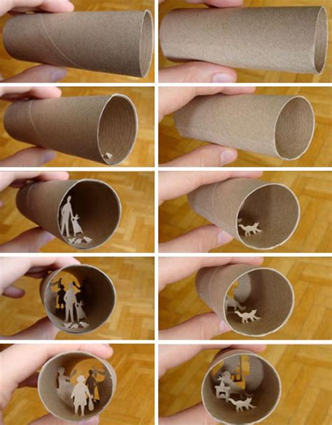 Craft Using Toilet Paper Rolls - collages crafted inside of tiny toilet paper rolls