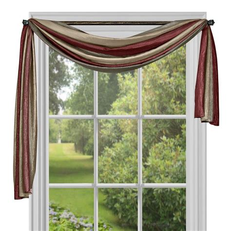 scarf curtain window elements ashville printed chocolate sheer curtain