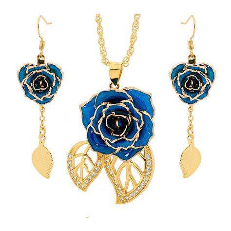 rose themed jewellery blue matched set in 24k gold leaf theme glazed rose