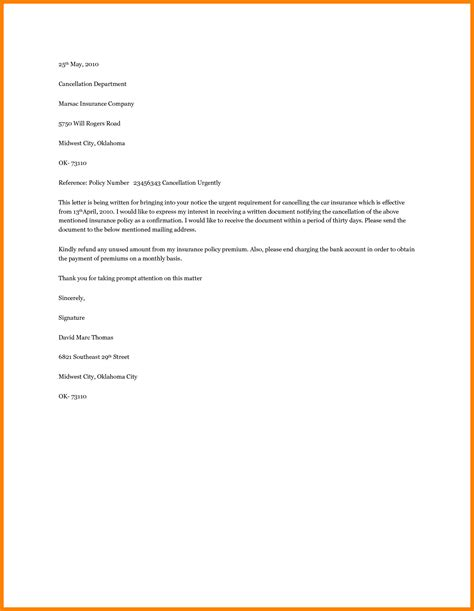insurance cancellation letter template letter flat