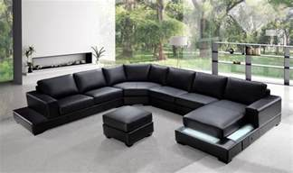 Black Sectional Sofa Ritz Modern Black Leather Quot U Quot Shaped Sectional Sofa