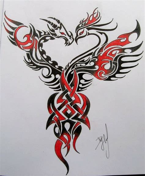 dragon and phoenix tattoo and idea it desgin not so much