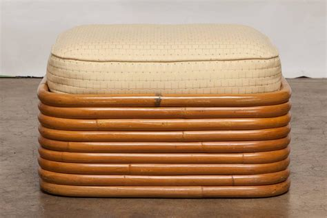 wicker ottomans sale stacked rattan ottoman by paul frankl for sale at 1stdibs