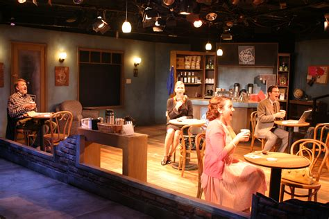coffee shop stage design theater review the world goes round actors co op in