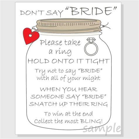 printable bridal shower ring game don t say bride ring game sign bridal shower printable