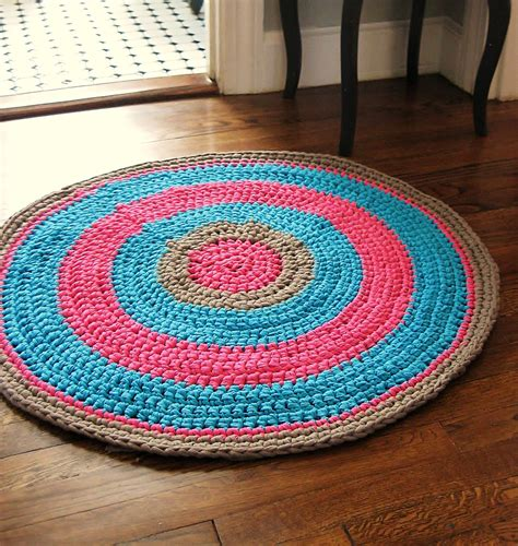 sale crochet rug 32 fuschia pink aqua and gray made