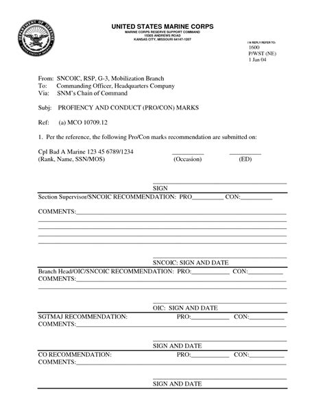 Marine Corps Pros And Cons Excel Worksheet
