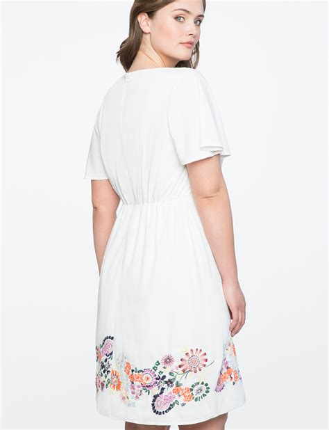 Embroidered Sleeve Dress embroidered flutter sleeve dress s plus size