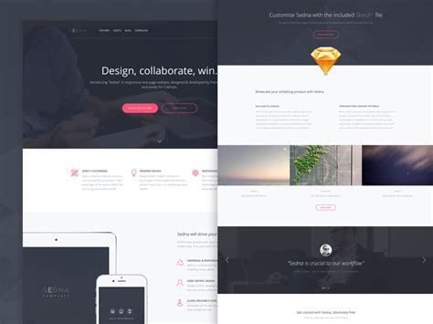 Freebie Sedna One Page Website Template Html Sketch Sketch Website Template Free