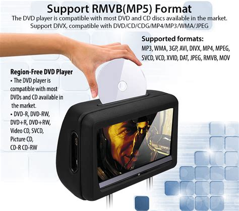 dvd player that plays avi format 2x 10 1 quot headrest dvd player hd touch screen monitor