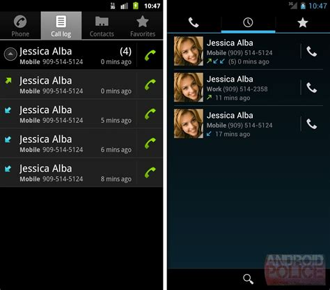 call my android getting to android 4 0 part 6 the phone app gets lots of