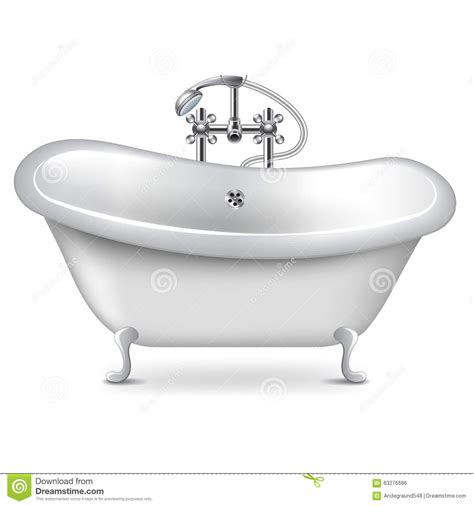 bathtub illustration empty bath on white vector stock vector image 63276686