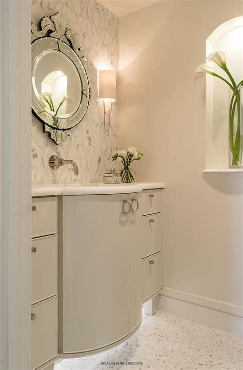 curved bathroom vanity curved gray bath vanity with venetian mirror