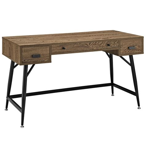 Surplus Desk by Lexmod Surplus Office Desk In Walnut