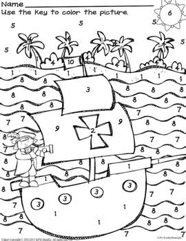 columbus day coloring pages for kindergarten free columbus day fun missing number worksheet color by