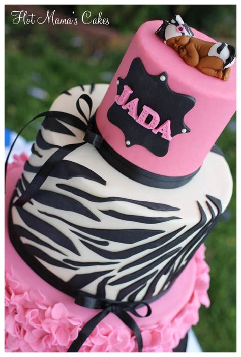 Pink And Zebra Baby Shower by Pink And Zebra Print Ruffles Baby Shower Cakecentral
