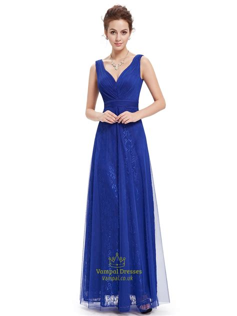 Sleeveless Lace Tulle Dress royal blue v neck sleeveless lace evening dresses with