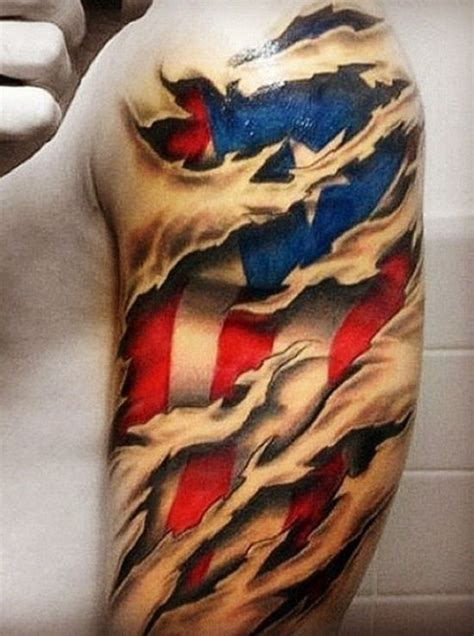 american flag ripping through skin tattoo american flag skin rip on shoulder tattoos
