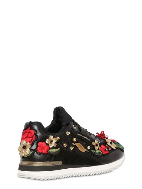 dolce and gabbana shoes lyst dolce gabbana jacquard nappa leather sneakers