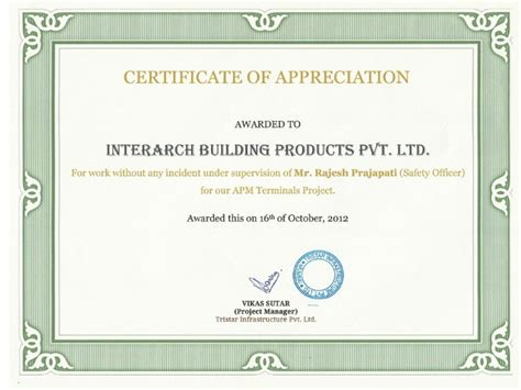 Certificate Letter Of Appreciation Interarch Buildings Awards