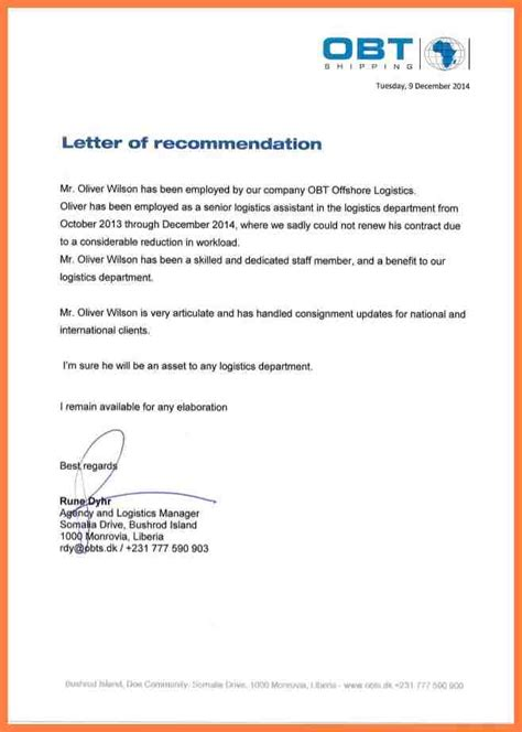 Recommendation Letter From Company 10 Company Letter Of Recommendation Company Letterhead