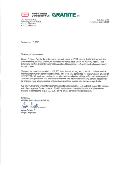 Recommendation Letter Yahoo international consolidated contracting llc letters of