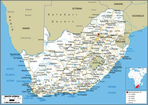 free printable road maps south africa large road map of south africa