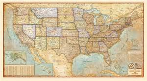 Fabric Wall Mural united states antique wall map by compart maps