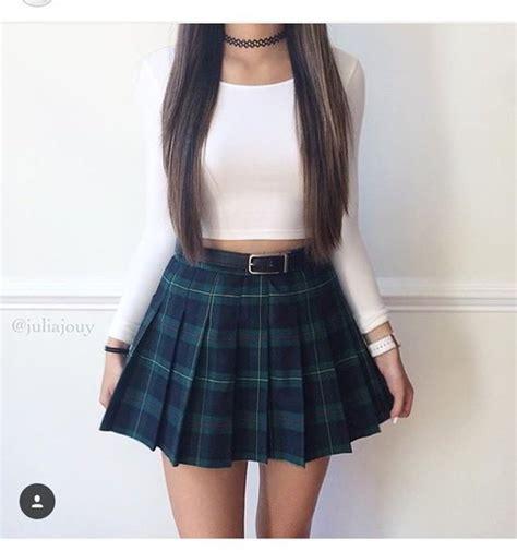 imagenes de faldas escolares skirt plaid pleated skirt green back to school school