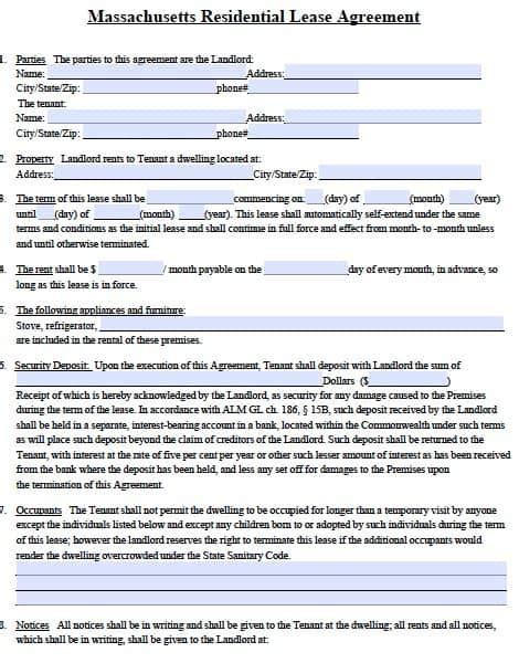 Free Massachusetts Standard Residential Lease Agreement Form Pdf Template Standard Residential Lease Agreement Template