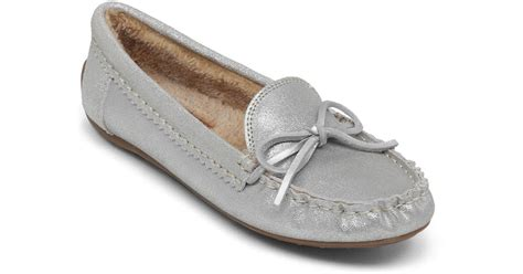 lucky slippers lucky brand aligabe faux fur lined slippers in metallic lyst